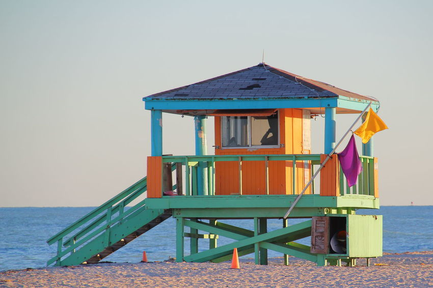 Miami Beach Architecture Beach Beach Hut Building Building Exterior Built Structure Cabin Clear Sky Day Florida Horizon Horizon Over Water House Hut Land Nature No People Outdoors Sea Sky Tranquility Water Water Rescue