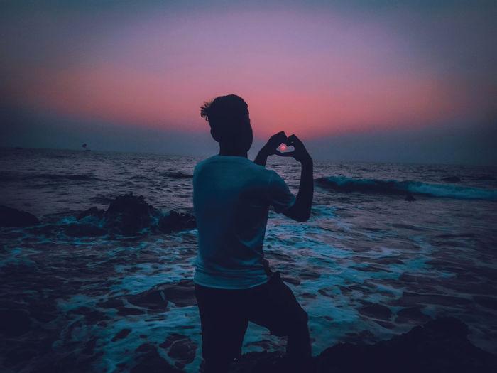 Sunset at the sea horizon feeling serene bliss and peace