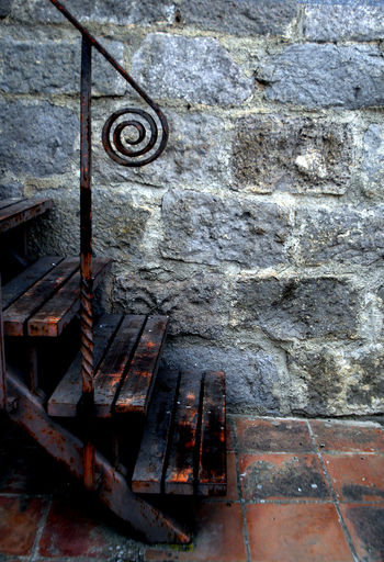 Close-up Day Detail No People Outdoors Stairways Wood - Material Wrought Iron Design