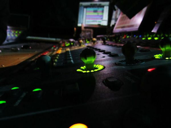 """Sound Mixer"" Sound Soundmixing Mixer Green Black Light LED Theater Life Show Stage Music Theater Theater Photography Button Push Button Handle Spot Desk Photo Belanglose Bilder Unaffected Images"