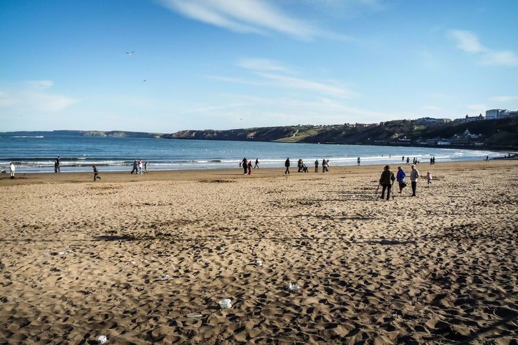 Typical English beach in Scarborough Beach Blue Coastline Day England English Beach Nature Sand Scarborough Scenics Sea Shore Sky Tourism Tranquil Scene Tranquility Travel Travel Destinations Vacations Wanderlust Water Yorkshire
