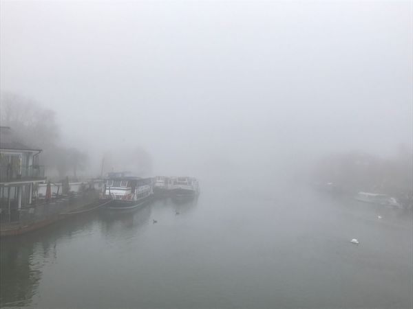 View from Caversham Bridge, Reading Landscape Nature Outdoors River Water Thames Barge Boat Fog Foggy Murky Moody Tranquil