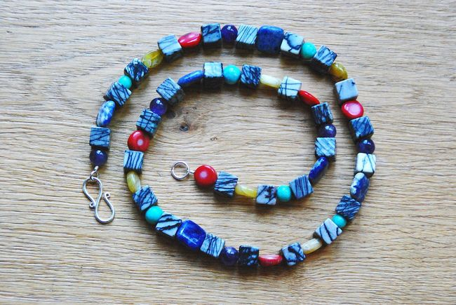 Multi Colored Creativity Wood - Material Necklace No People Variation Close-upCreative Hobby Taking Photos Eyeem Collection EyeEm Gallery Ladyphotographerofthemonth Beautyful  Jewellery Gemstones Directly Above DIY My Hobby Handmade Jewellery Handmadedifferent Gems Spiral Gemstone  Gift Handmade For You