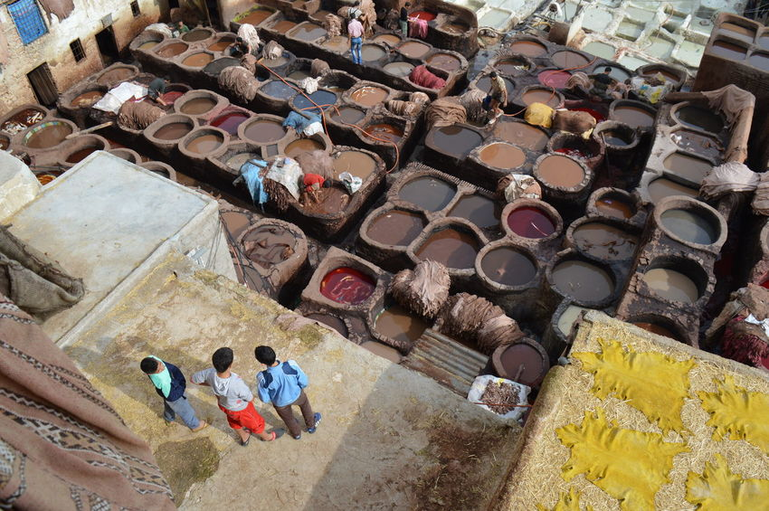 Abundance Architecture Arrangement Building Exterior Built Structure Choice Collection Day Fes For Sale High Angle View In A Row Large Group Of Objects Market Morocco Multi Colored No People Outdoors Stack Tannery Text Variation Wall - Building Feature