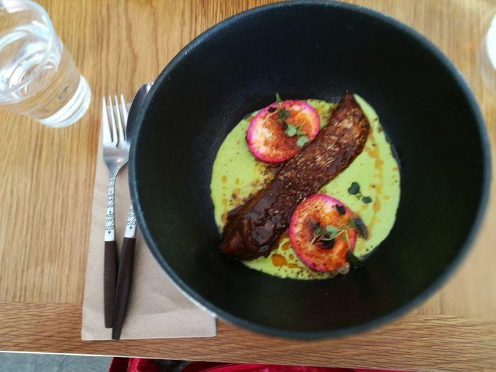 Food Art Ying & Yang Cod Purple Eggs And Green Peas foodporn Love My Food
