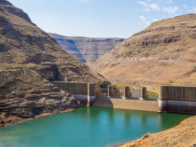 Hydroelectric Power Hydro Power Hydro Dam Power Plant Lesotho Katsedam Katse Dam African Africa Concrete Mountains