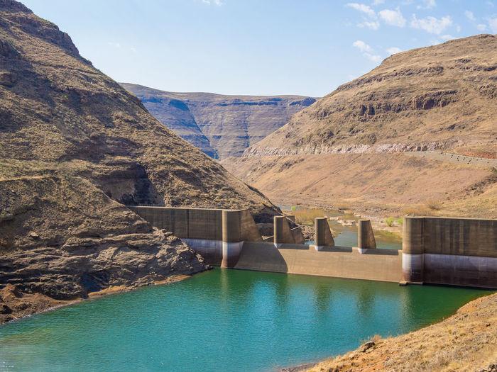 Hydroelectric Power Hydro Power Hydro Dam Power Plant Lesotho Katsedam Katse Dam African Africa Concrete Mountains