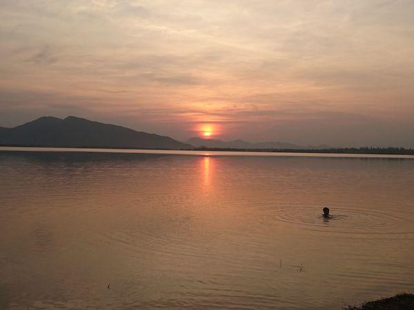 sunset Lake Reflection Sea Beach