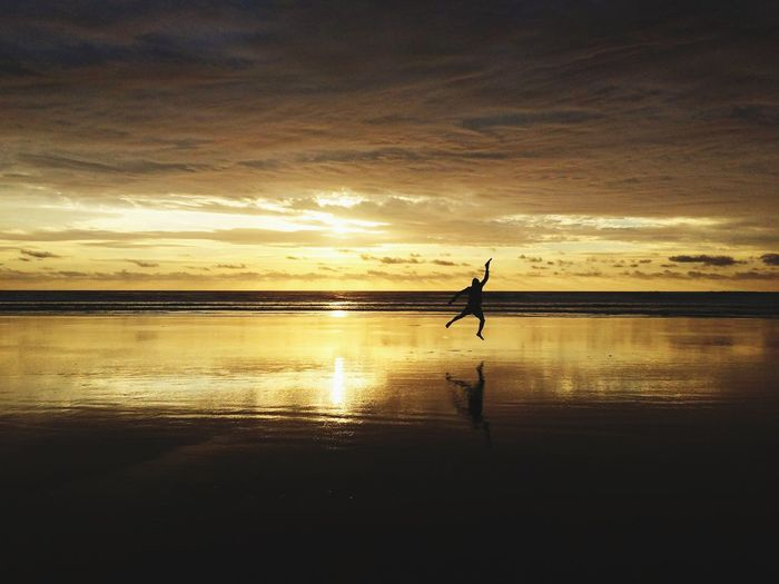 Celebration Nature On Your Doorstep Nature Photography Silhouette Muriwai Beach Sunset_collection Naturelover Men Sunset Full Length Beach Standing My Best Photo