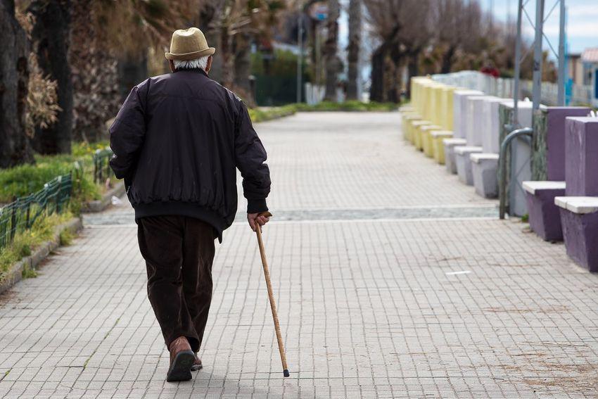 Old man walking Rear View One Person Full Length Walking Men Real People Footpath