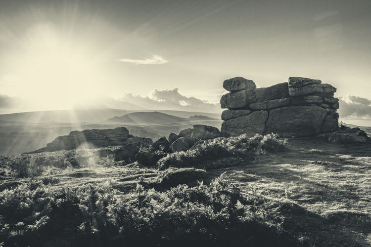 Dartmoor light Sky Nature Landscape Travel Scenics - Nature Tranquil Scene No People Mountain History Tranquility Sunlight The Past Architecture Beauty In Nature Sunbeam Tourism Rock Travel Destinations Day Environment Sun Lens Flare Outdoors Ancient Civilization Archaeology