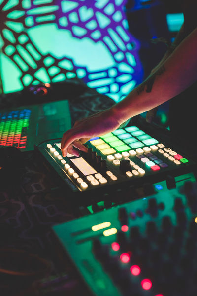 DJ mixing music live on stage at a party or music festival. Clubbing Festival Season Live Music Live Music Photography Music Buttons Club Club Night Festival Mixing Music Festival Musical Equipment Musical Instrument Musician Sound Mixer Sound Recording Equipment