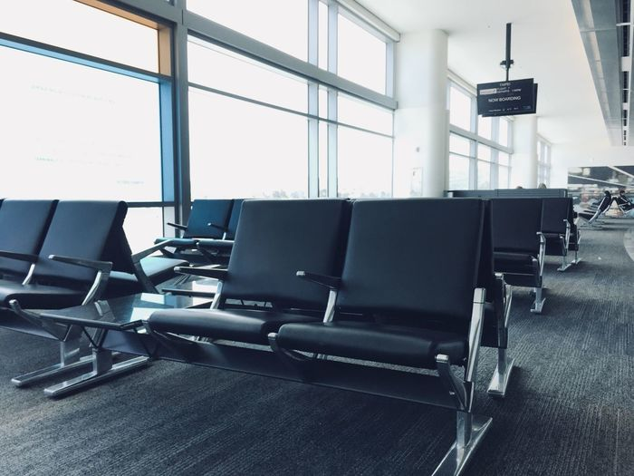 Empty seat airport waiting room