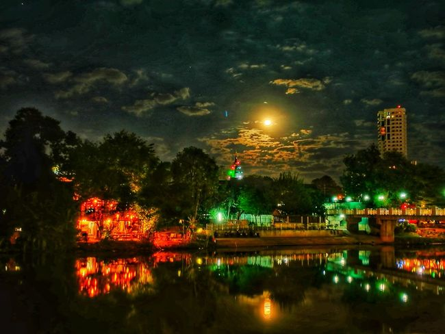 Full Moon Night beside the Ping River Night Illuminated Reflection Sky City Outdoors Water Tree Cityscape Building Exterior City Life Urban Skyline