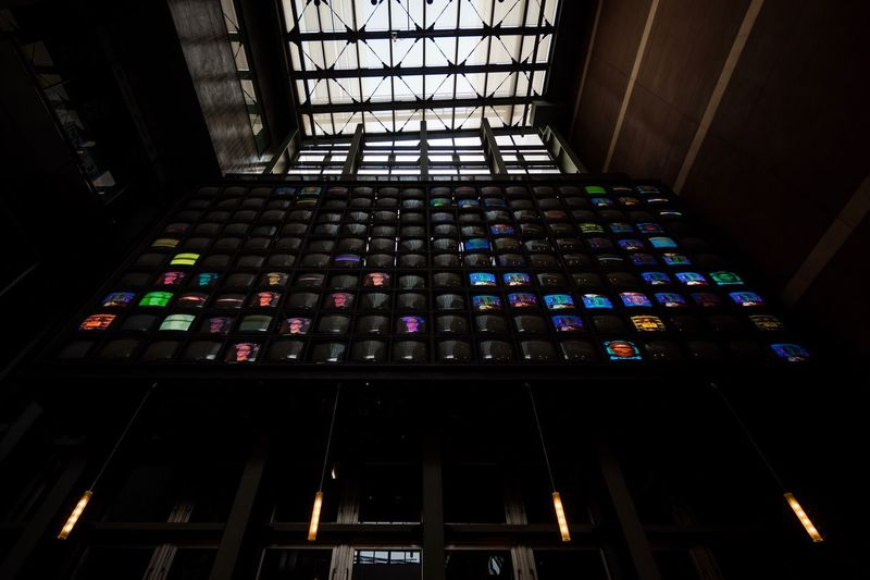 Art Cyberpunk Art Cyber Videography Television Analog Monitor Canalcity Video Japan Photography Japan Fukuoka Indoors  Window Low Angle View Architecture Built Structure Multi Colored No People Day