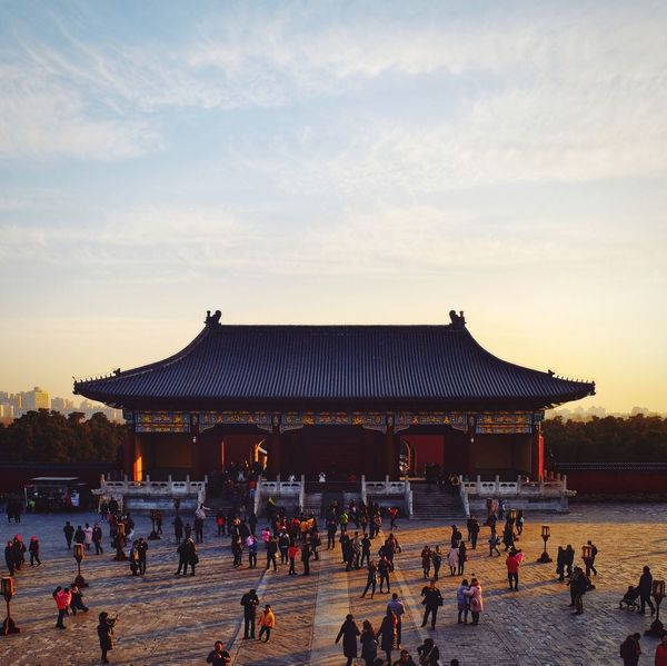 Large Group Of People History Architecture Travel Destinations Built Structure Palace People Ancient Sunset Building Exterior Day Outdoors Sky Ancient Civilization Royalty City Ice Rink Politics And Government Adult Old Building  Temple Of Heaven Park FUJIFILM X-T10 Place Of Worship Beijing, China King - Royal Person