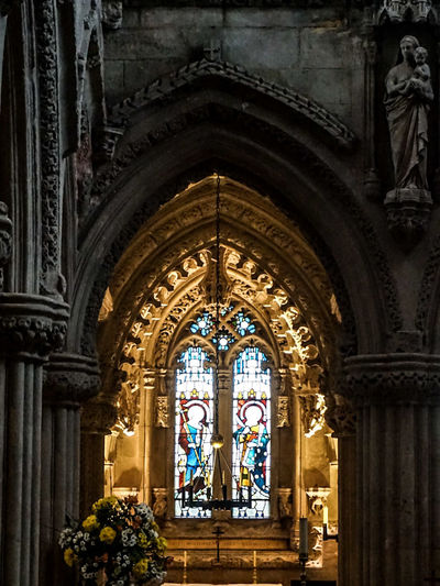 Stained Glass Window Seen From Archway At Rosslyn Chapel