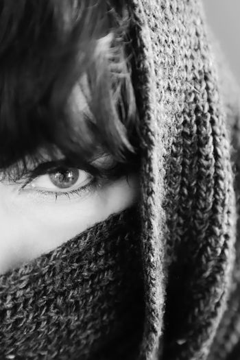 Black And White Scarf One Person Portrait Looking At Camera Close-up Eye Front View Body Part Human Body Part Headshot Young Adult Real People Human Eye Human Face Leisure Activity Lifestyles Young Women Covering Obscured Face Beautiful Woman Eyebrow Eyelash Hairstyle Bangs Teenager International Women's Day 2019