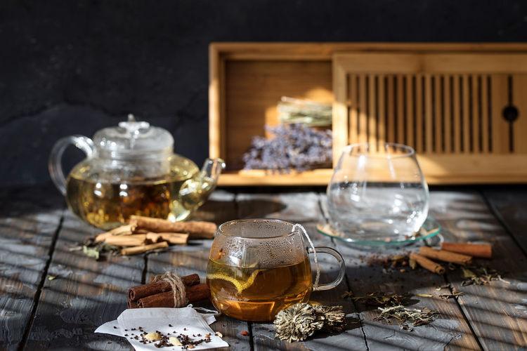 Herbal tea on table