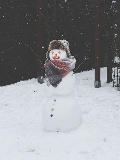 Schneemann Snowman⛄ Winter Cold Temperature Snowman Childhood Outdoors Happiness EyeEmNewHere