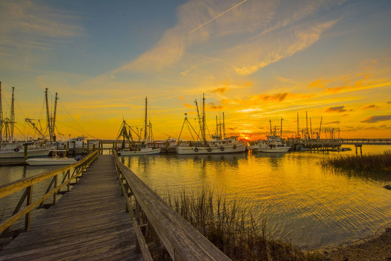 Architecture Beauty In Nature Cloud - Sky Commercial Dock Day Documentary Harbor Landscape Nature Nautical Vessel No People Outdoors Pier Scenics Sea Shrimp Boats Sky Sunset Transportation Travel Destinations Water