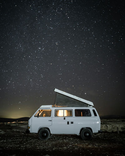 Volkswagen T3 Westfalia camper van under a starry sky on a clear night in Fuerteventura, Spain. Night Mode Of Transportation Transportation Sky Star - Space Illuminated Land Vehicle Nature Astronomy Space Car Outdoors Field Land Motor Vehicle No People Star Field Scenics - Nature Star Travel Camper Campervan Travel Travel Destinations Traveling Travel Photography Travelling Vwbulli VwT3 Volkswagen Vanlife Vanlifers Camping Campinglife Starry Starrysky Nightphotography Longexposure Stars Nature Nature_collection Nature Photography Landscape Landscape_photography Fuerteventura Fuerteventuraexperience SPAIN Summer Outdoors Photograpghy  Adventure