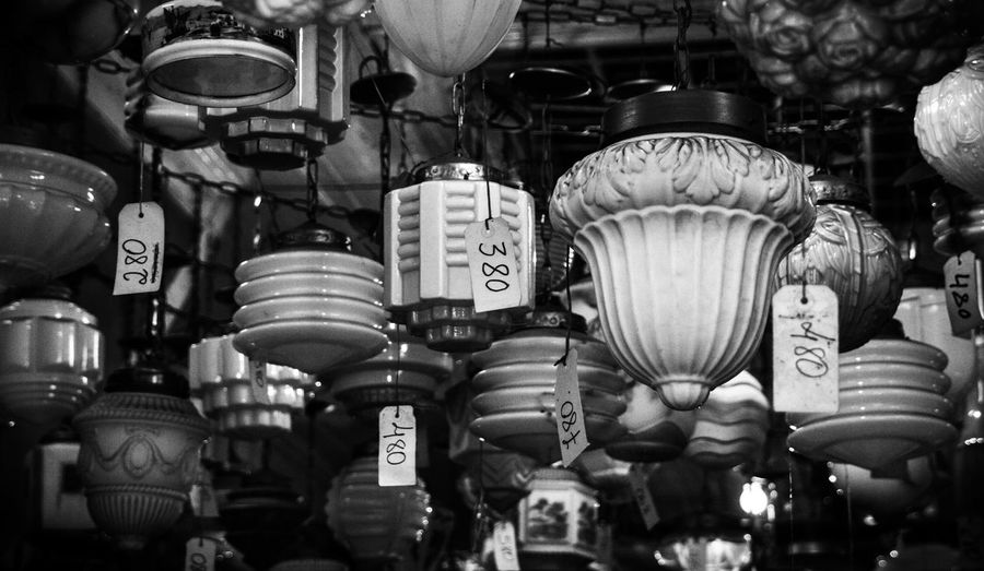Old things, new prices. Abundance Blackandwhite Collection For Sale Indoors  Lamps Large Group Of Objects Side By Side