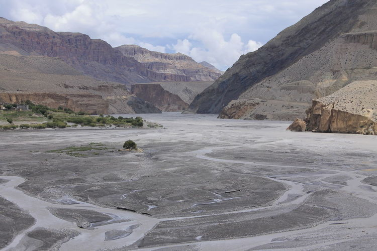 Kagbeni Nepal Beauty In Nature Cloud - Sky Desert Mountains Geology Kagbeni Kali Gandaki River Nepal Landscape Mountain Mountain Range Mustang Nepal Nature Nepal No People Non-urban Scene Remote Rock - Object Scenics Sky Tranquil Scene Tranquility Travel Destinations