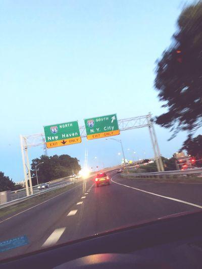 Driving New York City Road Sky Sign Car Road Sign
