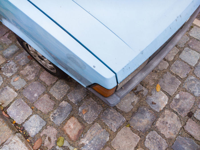 Cropped image of vintage car on street