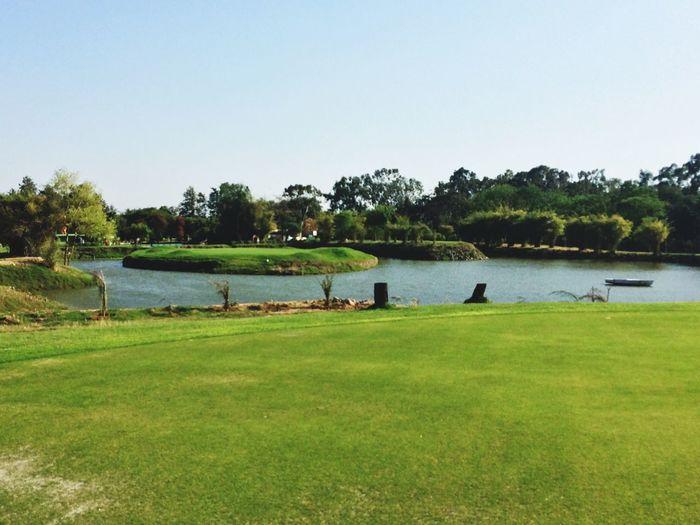 Green Grass Nature Golf Golfing Golfcourse Water