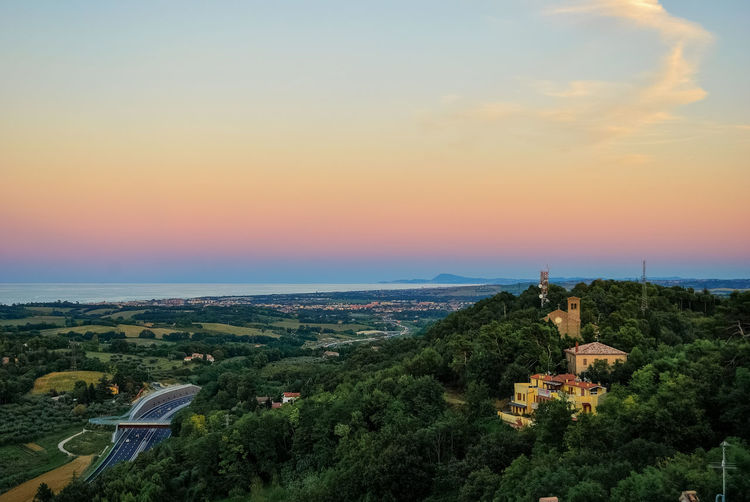 View from a hill near Pesaro Aerial View Buildings Dawn High Angle View Highway Hills Horizon Mediterranean  Nature Nature Novilara Outdoors Panorama Panoramic Pesaro Scenic Scenics Sea Sky Sunset Tranquil Scene Village