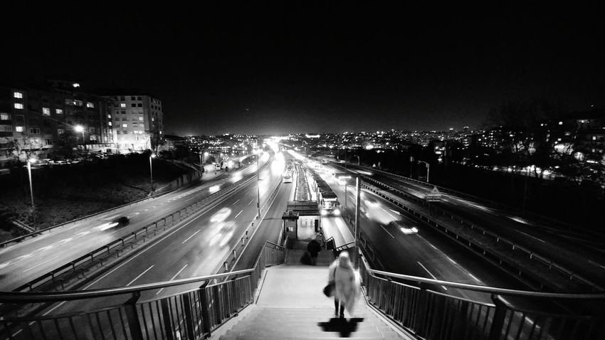 Night Transportation Illuminated City Bridge - Man Made Structure Traffic On The Move Mode Of Transport Sky Light Trail Built Structure Cityscape Travel High Angle View Long Exposure Travel Destinations Outdoors City Life No People Motion Turkey Istanbul Metrobus Blackandwhite