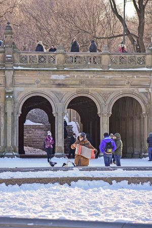 Winter NYC Photography Winter 2018 Winter Accordion Playing Music Park Central Park Central Park - NYC Bethesda Fountain, Central Park, NYC Bethesda Fountain Bethesda Terrace Bethesda Arcade Winter Snow Cold Temperature Weather Real People Architecture Outdoors Warm Clothing