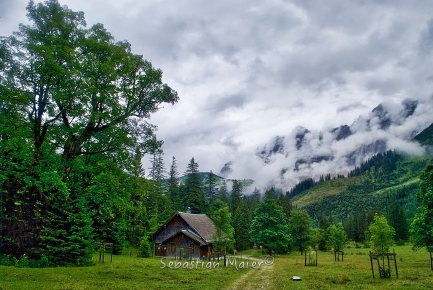 Architecture Beauty In Nature Building Exterior Cloud - Sky Cloudy Cottage Day Green Color House Landscape Mountain Nature Outdoors Remote Rural Scene Sky Tranquil Scene Tree