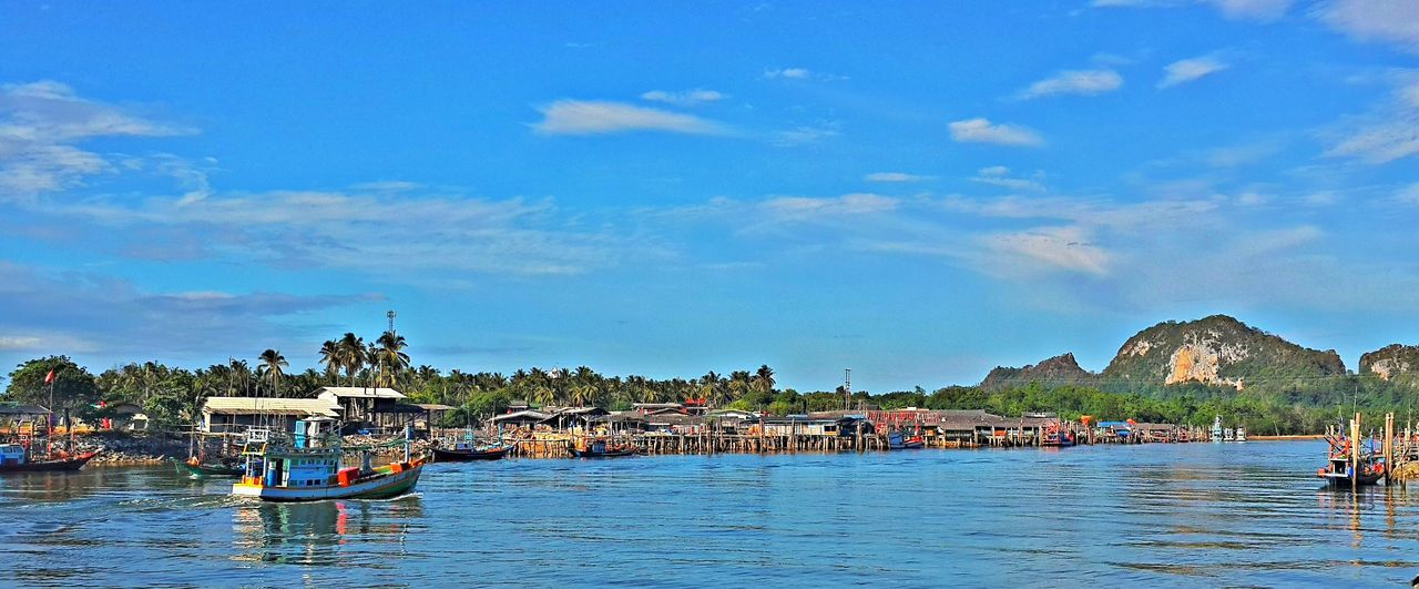 Lang Suan river in Pak Nam Blue Boat Lang Suan Mode Of Transport Nature Outdoors Pak Nam Lang Suan River Scenics Sky Thailand Water Waterfront