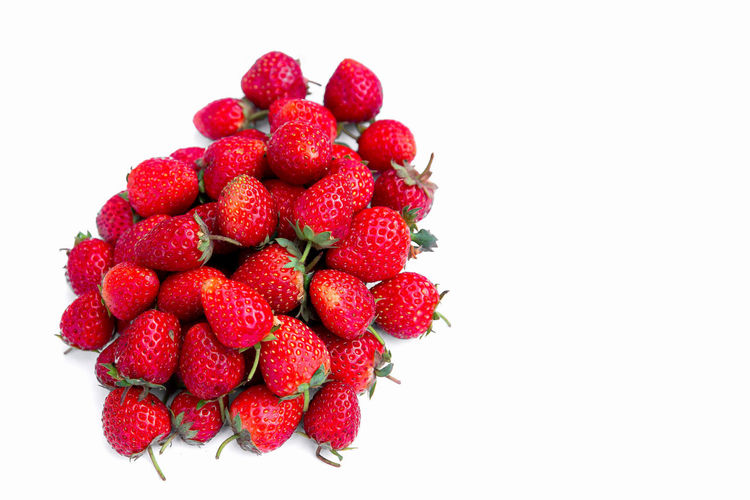 High angle view of strawberries