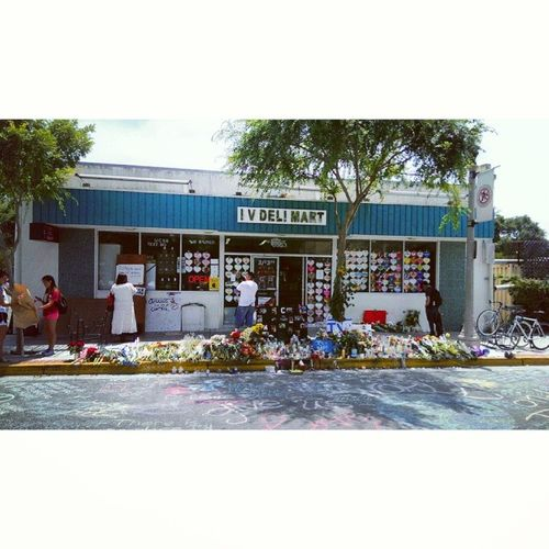 "Went past IV Market for the first time today since the shooting. I talked to the owner asked how he was doing, and he said, ""fine"", and simply thanked me for coming as he shook my hand. Isla Vista has surprised me; I wasn't aware of how strong and loving this community was capable of being. NotOneMore Gauchostrong"