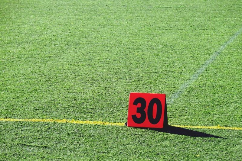 Playing field and marker with number 30