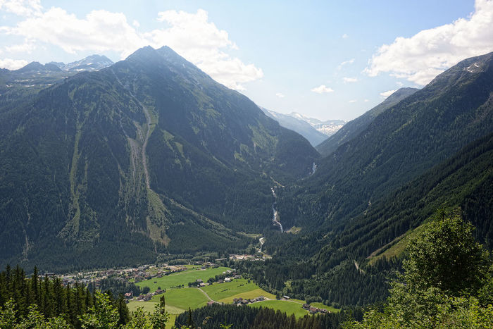 Aerial view on Krimml Waterfalls and Achental valley in Austria. Above Achental Aerial View Krimml Krimmler Krimmler Achental Krimmler Tauerntal Krimmler Wasserfalle Krimmlerwasserfälle Landscape Mountain Mountain Peak Mountain Range No People Valley