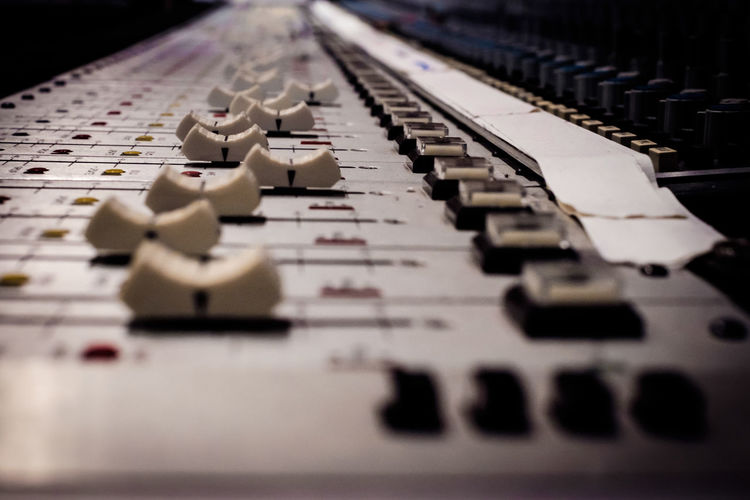 Close-up Fader Faders In A Row Knobs Mixer Mixing Console Music Music Recording Recording Studio Recordingsession Repetition
