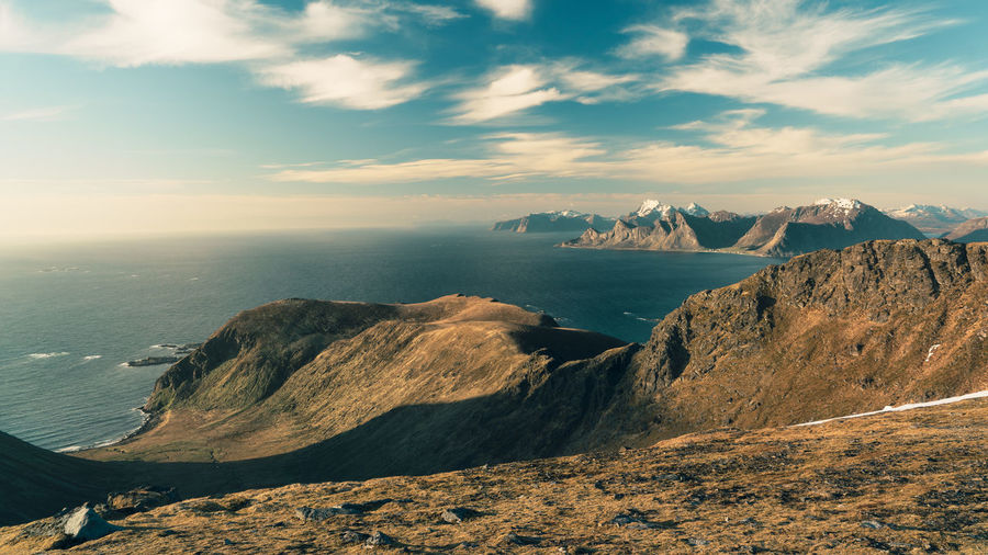 Landscape of Lofoten Islands seen from high on mountain in Norway Beauty In Nature Cloud - Sky Day Horizon Over Water Landscape Lofoten Mountain Nature No People Norway Outdoors Rock - Object Scenics Sea Sky Tranquil Scene Tranquility Water Lost In The Landscape Perspectives On Nature