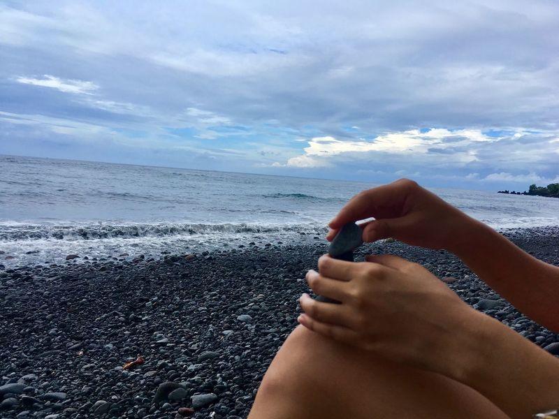 Breathing Space Ocean Stone Beach Horizon Over Water