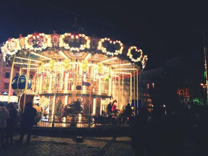 Amusement Park Arts Culture And Entertainment Amusement Park Ride Carousel Night Illuminated Fun