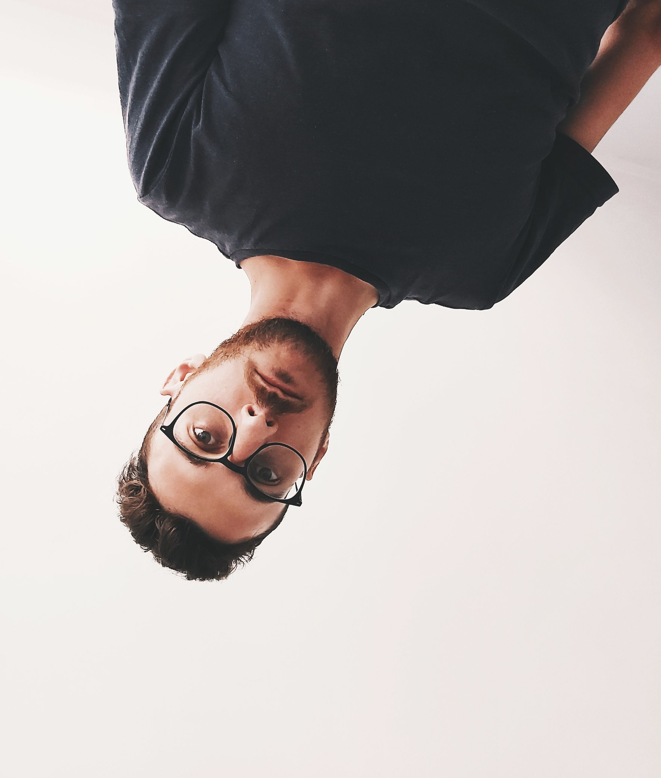 portrait, studio shot, one person, looking at camera, indoors, white background, copy space, men, cut out, front view, headshot, human body part, body part, eyeglasses, young men, males, glasses, young adult, lifestyles, human face