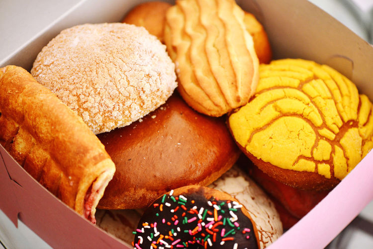 High angle view of dessert in box on table