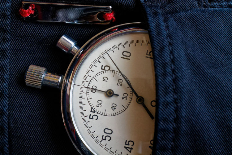 Close-up of gauge in pocket of jeans