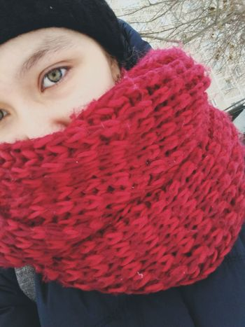 Red One Person Warm Clothing Only Women One Woman Only Looking At Camera People