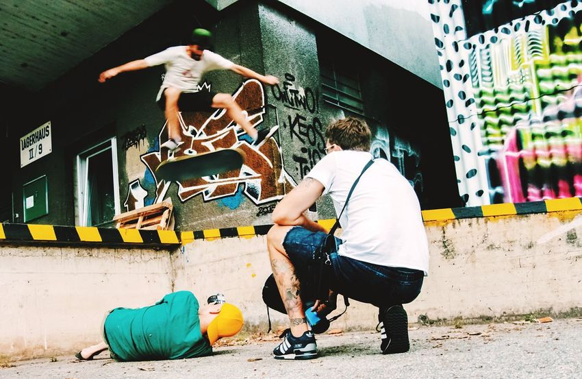 Taking Photos Of People Taking Photos Lying On The Floor Skateboarding From My Point Of View Mural Harbor Streetphotography Walking Around Taking Pictures Urban Lifestyle Hanging Out With Friends Street Art/Graffiti Linz/Austria Simple Photography