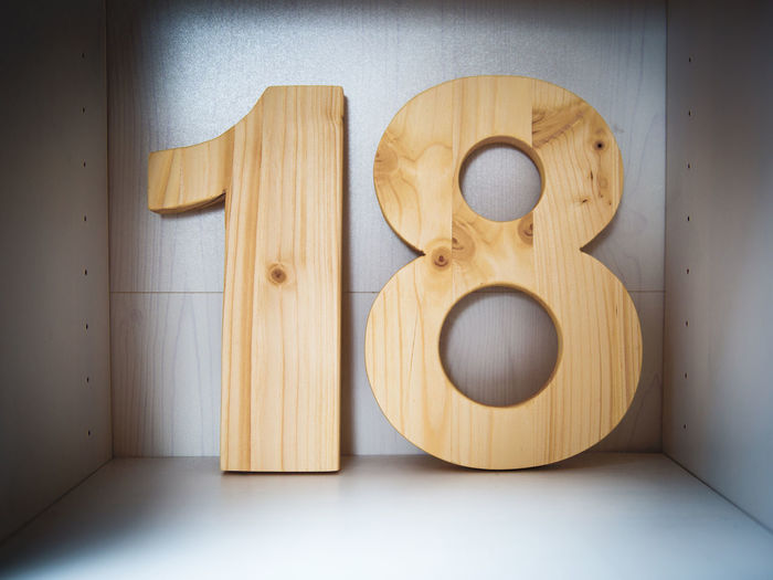 Close-Up Of Wooded Number Against Wall